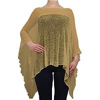 Poncho holgado para mujer, encaje de crochet