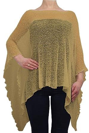 Ladies Crochet Lace Fish Net Batwing Poncho One Size Beige