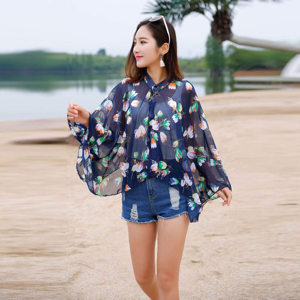 Women Vacation Sunscreen Cardigan Beach Cover up Floral Shawl Chiffon Tops Sunscreen Clothes by iLUGU (Image #3)
