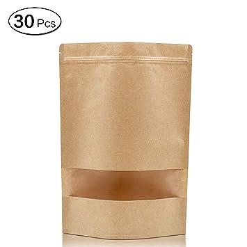LEEQ 20pcs Grueso Sellado Alimentos Papel Kraft Bolsas de ...