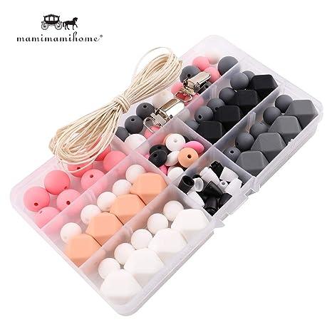 Clips de silicona mordedores para bebés DIY Crafts Conjunto Chupete Cuna juguete seguro y línea de silicona Natural Teether pendientes del collar del ...
