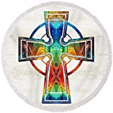 Pixels Round Beach Towel With Tassels featuring ''Colorful Celtic Cross By Sharon Cummings'' by Sharon Cummings