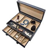 Stock Your Home Men's Dresser Valet Jewelry & Accessories Organizer – Faux Leather – Chocolate