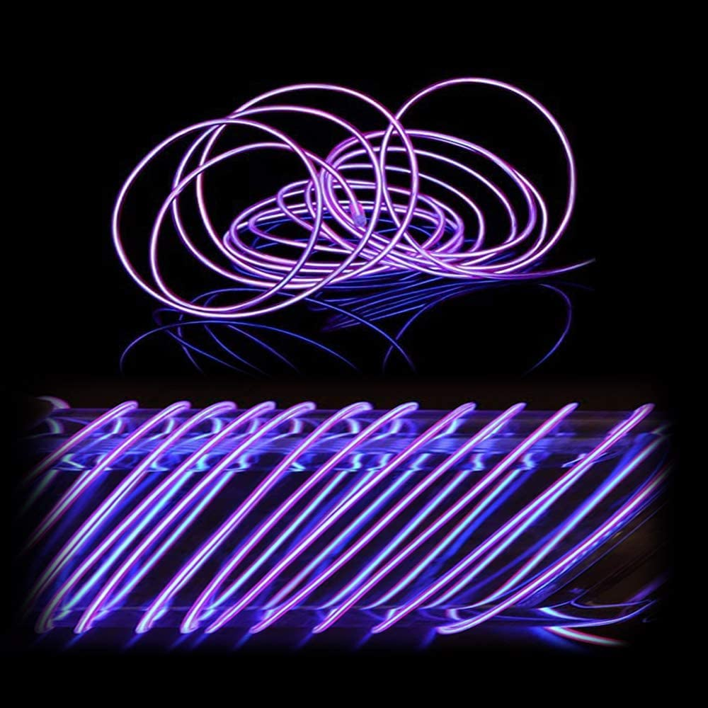 EL Wire Blue MaxLax 9ft Neon Lights Noise Reduction Neon Glowing Strobing Electroluminescent Wire for Halloween DIY Decoration Parties