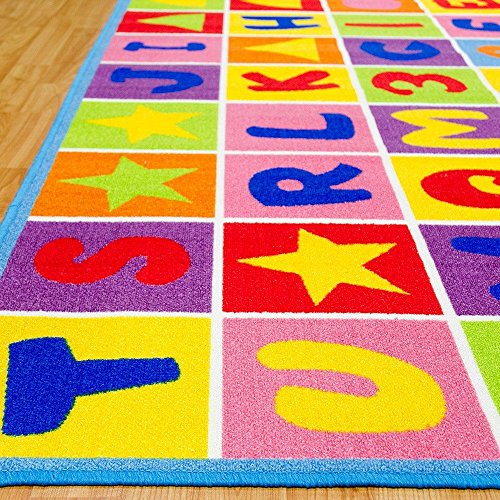 Kids / Baby Room / Daycare / Classroom / Playroom Area Rug. Educational. Letters and Numbers. Fun. Non-Slip Gel Back. Bright Colorful Vibrant Colors (8 Feet X 10 Feet) by iSavings (Image #2)