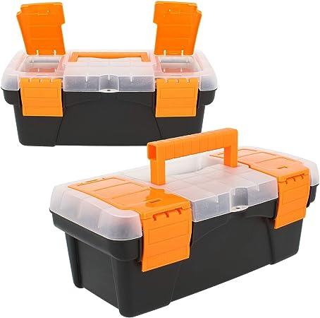 com-four® 2X Caja de Herramientas vacía - Mini Caja de Herramientas con Tapa y Mango - Pequeña Caja de Herramientas para Accesorios (02 Piezas - Caja de Herramientas vacía): Amazon.es: Hogar