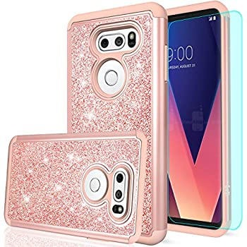 LG V30 Case,LG V30 Plus Case with HD Screen Protector,LeYi Luxury Glitter Bling Cute Girls Women [PC Silicone Leather] Dual Layer Heavy Duty Protective Phone Case for LG V30 / LG V30 + TP Rose Gold