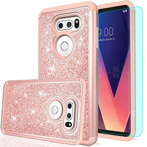 LeYi LG V30 / LG V30 Plus / V30S / LG V35 ThinQ Case with HD Screen Protector, Glitter Bling Cute Girls Women Dual Layer Heavy Duty Phone Case for LG V30 S/V 30 / V 30 + TP Rose Gold