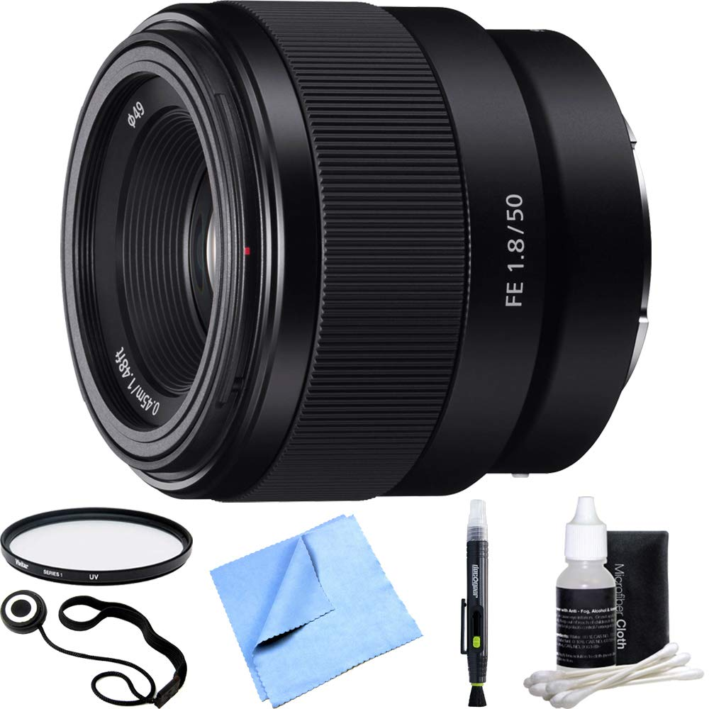 Sony FE 50mm F1.8 Full-frame Prime E-Mount Lens SEL50F18F Essential Accessory Bundle includes Lens, 49mm UV Filter, Lens Cap Keeper, Cleaning Pen, Cleaning Kit and Beach Camera Cloth by Sony