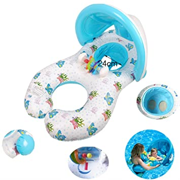 Dual Person Kids Baby and Mommy Inflatable Swim Boat Float Ring Tube Water Seat with Sunshade  sc 1 st  Amazon.com & Amazon.com: Dual Person Kids Baby and Mommy Inflatable Swim Boat ...