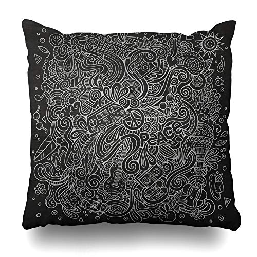 Ahawoso Throw Pillow Cover Bow Handdrawn Doodles Hippie Chalkboard Shoes 60S Abstract Air Balloon Board Design Heart Decorative Pillowcase Square Size 18