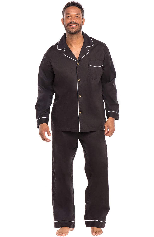Alexander Del Rossa Men's Lightweight Button Down Pajama Set, Long Cotton Pjs, Large Black (A0714BLKLG)