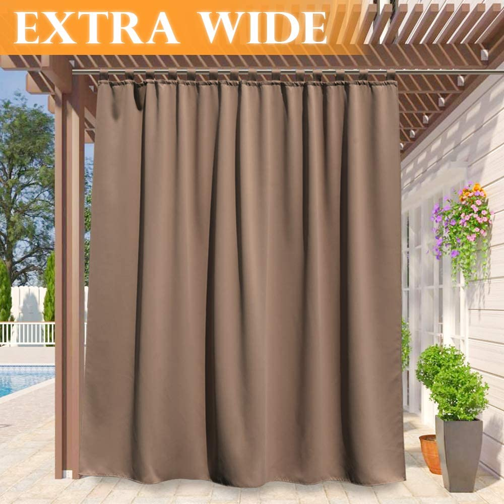RYB HOME Blackout Curtain Outdoor - Tab Top Thermal Insulated Cabana Outdoor Indoor Privacy Curtain Drape for Sliding Glass/Screen Porch/Outside Balcony, Wide 100 by Long 95 Inch, Mocha