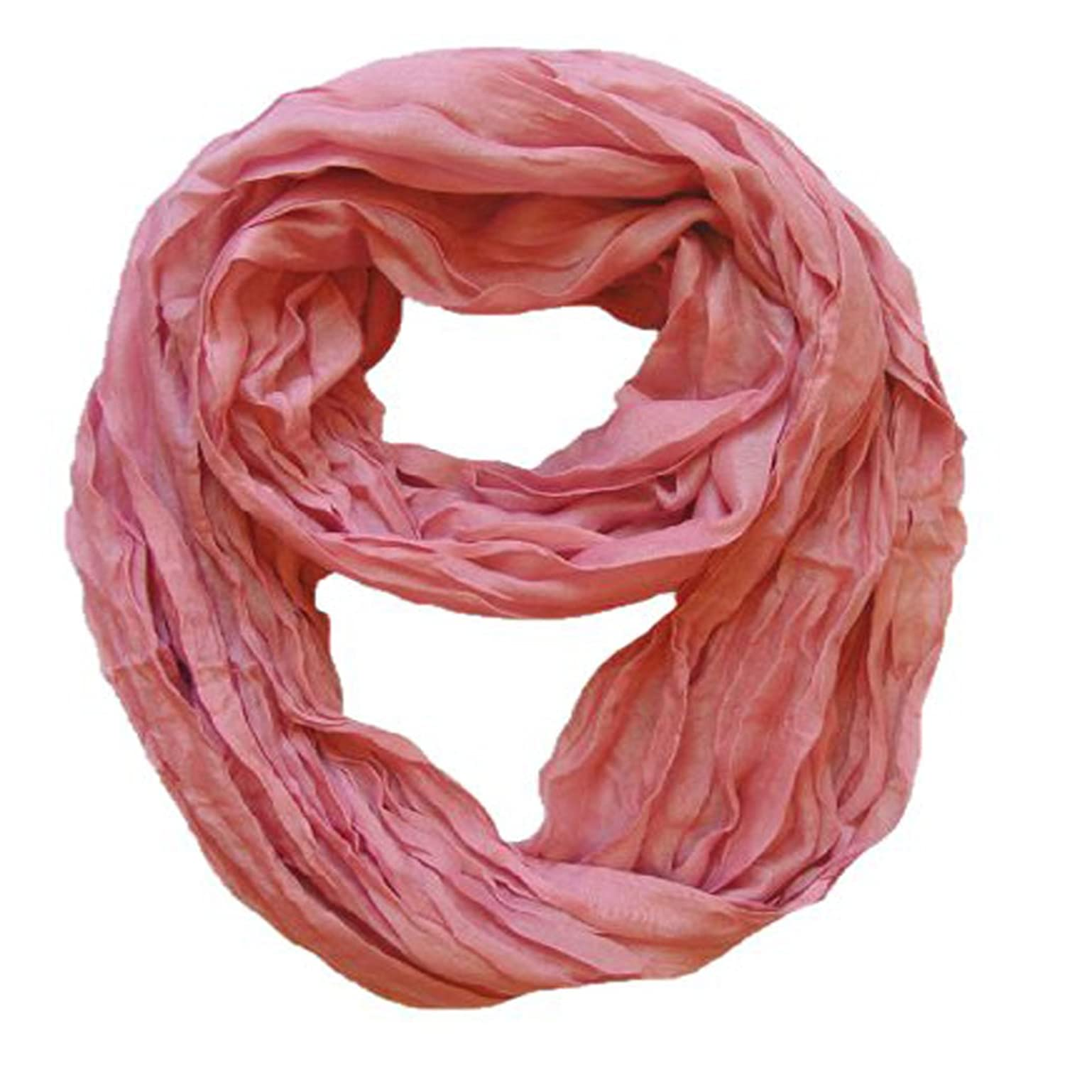 Peach Couture Fashion Lightweight Crinkled Infinity Loop Scarf Neon Faded Ombre