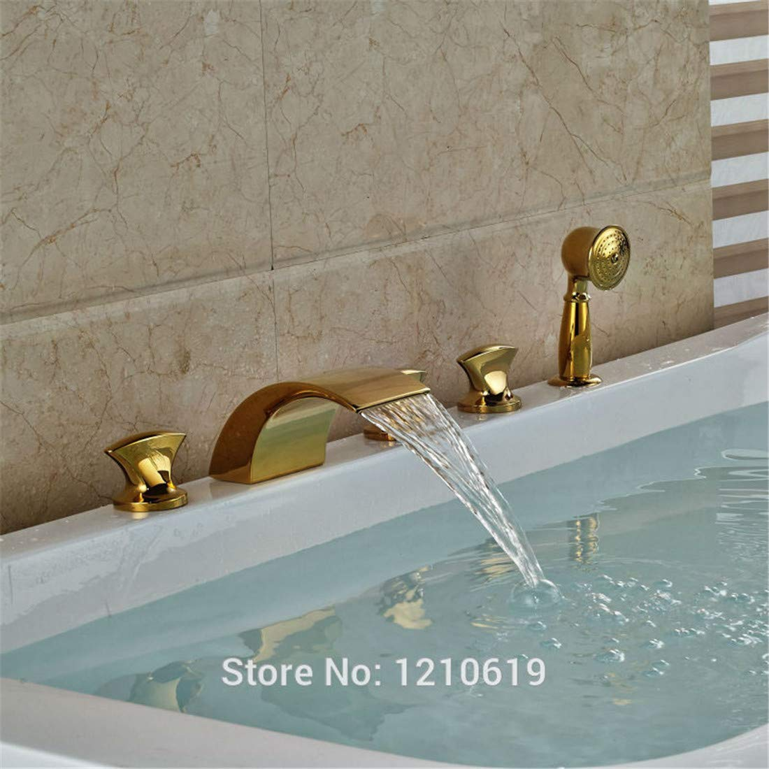 Retro Plated Hot and Cold Faucet Retrogold Plate Bathtub Faucet Set Deck Mount Waterfall Shower Tub Faucet