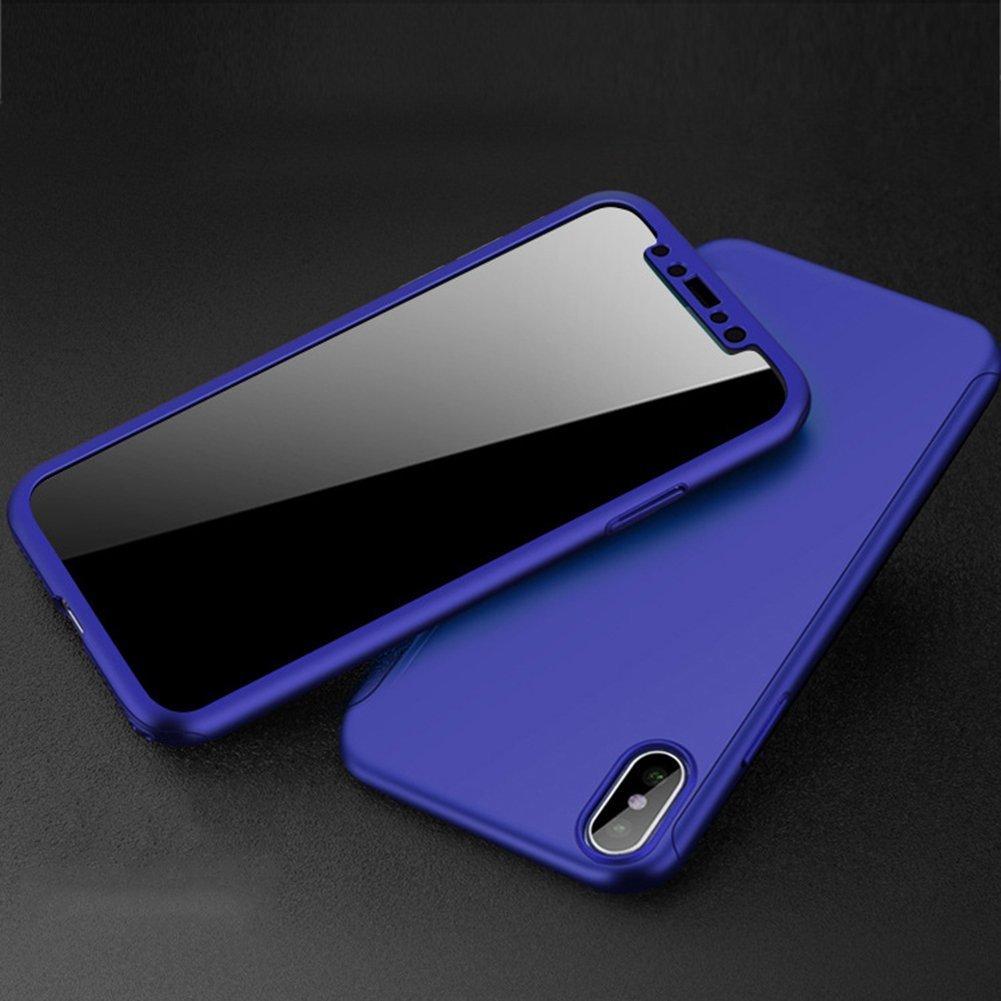 Ukayfe Custodia iPhone X Cover iPhone 10 di 360 Gradi Protezione, Pellicola Vetro Temperato Protettiva Ultra Sottile Copertura Case per iPhone X//10-Blu 3 in 1 Hard PC Bumper Full Body Cover