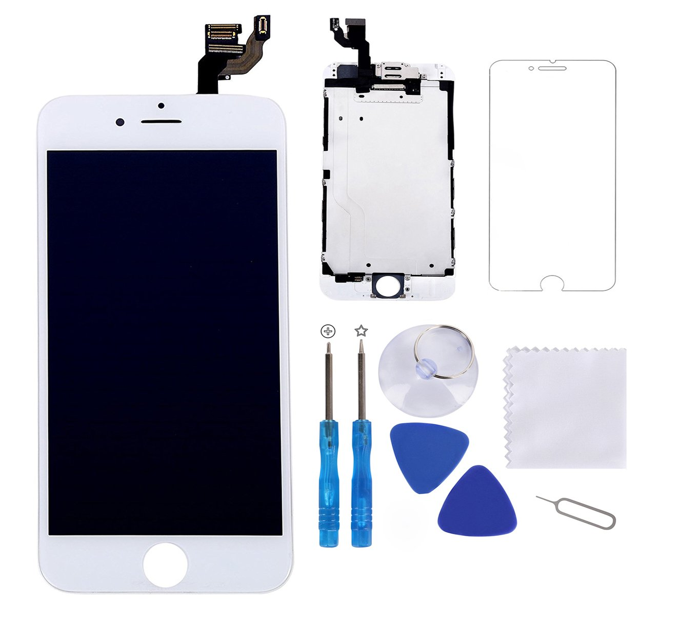 Screen Replacement for iPhone 6 Plus White 5.5'' LCD Display Touch Digitizer Frame Assembly Full Repair Kit,with Proximity Sensor,Ear Speaker,Front Camera,Free Screen Protector,Repair Tools