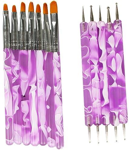 COM-FOUR® Juego de cepillos para uñas de 7 piezas + Juego de plumas para ...