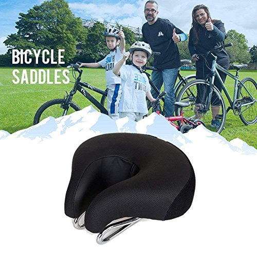 Zisen Wide Bike Saddle Seat Noseless High Resilience MTB Large Bicycle Seats Comfortable Outdoor Sports Cycling Pad Cushion for Women & Men Black by Zisen (Image #3)