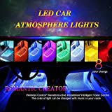 Car atmosphere LED Strip Light, 4pcs RGB 48 LED Multicolor Music Car Interior Lights Under Dash Lighting Waterproof Kit with Sound Active Function and Wireless Remote Control, Car Charger Included, DC 12V
