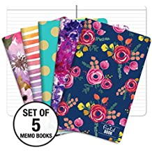 """Pocket Notebook/Pocket Journal - 5""""x8"""" - Assorted Patterns - Lined Memo Field Note Book - Pack of 5"""