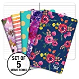 "Pocket Notebook/Pocket Journal - 5""x8"" - Assorted Patterns - Lined Memo Field Note Book - Pack of 5"