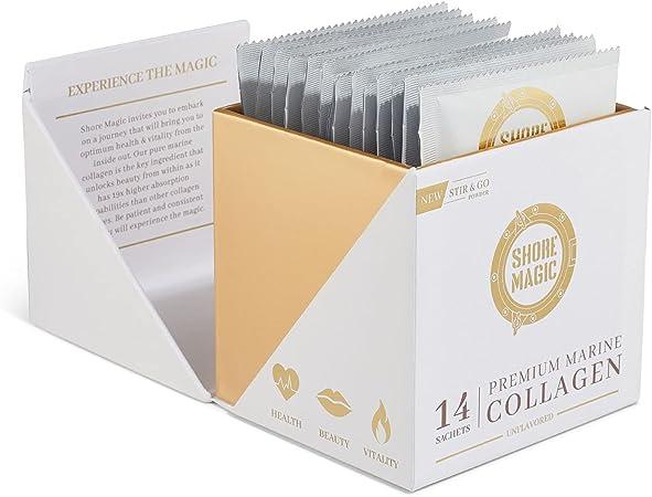 Shore Magic Marine Collagen, Hydrolyzed Marine Collagen Powder, Sustainably Sourced Wild Fish Skin Collagen, Odorless & Unflavored, 14 Stir & Go Sachets (10g Each)