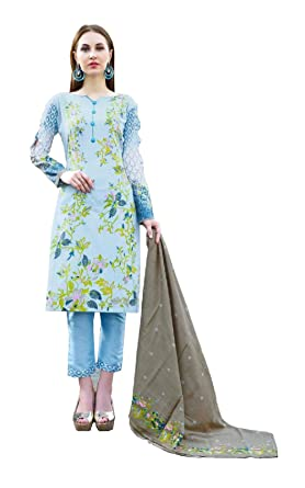 a4bdb9c475 Madeesh Pakistani Suit for Women, Karachi Printed Lawn Top, Lawn Bottom,  Cotton Mal