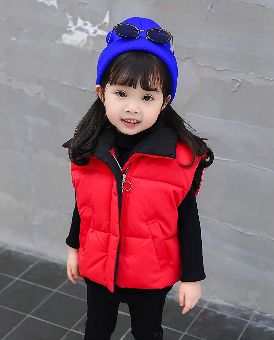 Happy Cherry Boys Girls Winter Vests Stand Collar Warm Padded Zip Closure Side Pockets Gilet Quilted Puffer Vest 3-7T