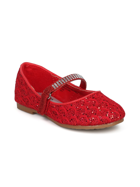 Alrisco Girls Glitter Lace Fabric Rhinestone Mary Jane Ballet Flat HE68 - Red Mix Media (Size: Little Kid 1)