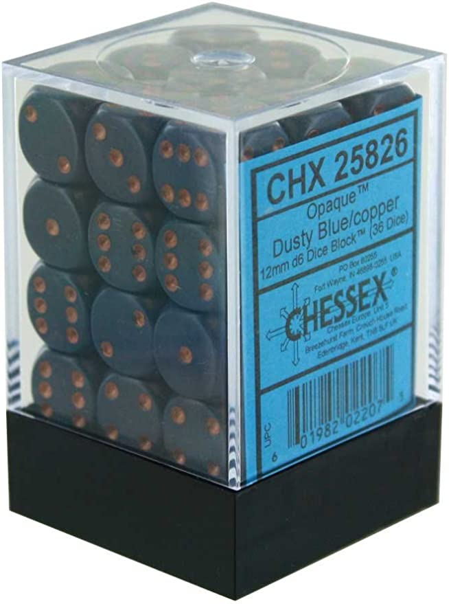 36 Chessex Dice Block Sets 12mm D6 Frosted Blue w// White Pips CHX 27806