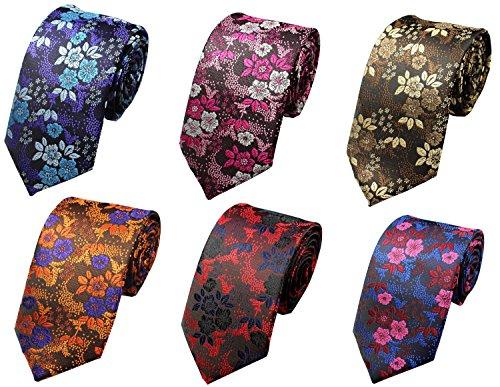 OUMUS Men's Ties,Silk Floral Printed Slim Skinny Ties for Men Neckties Pack of ()