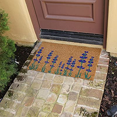 "Rubber-Cal ""Purple English Lavender Flower Doormat, 18 x 30"