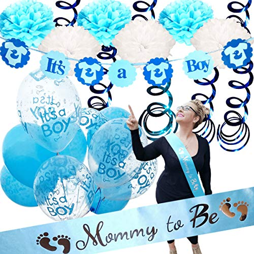 Baby Shower Decorations For Boy - Mommy To Be Sash | IT'S A BOY | Banner Theme | Blue White Clear | Decor Tissue Paper Flower Pom Poms Party Games Table Cloth Favors Balloons -