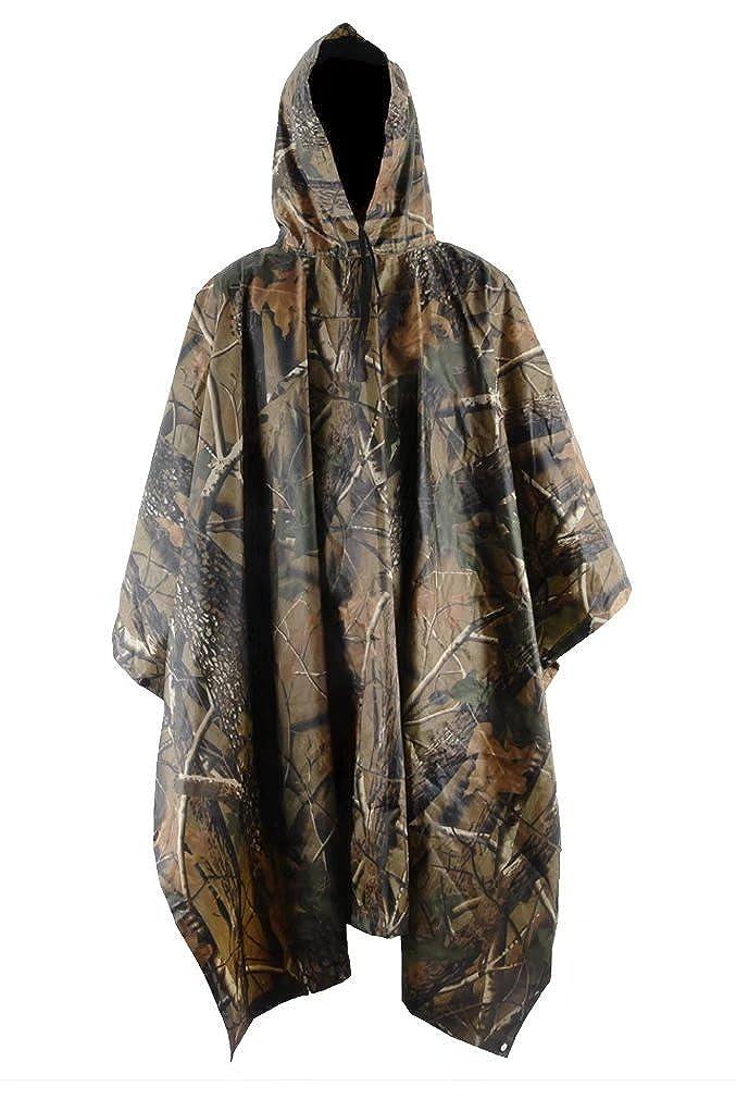 Msmsse Men's Rain Poncho Outdoor Multifunction Military Raincoat