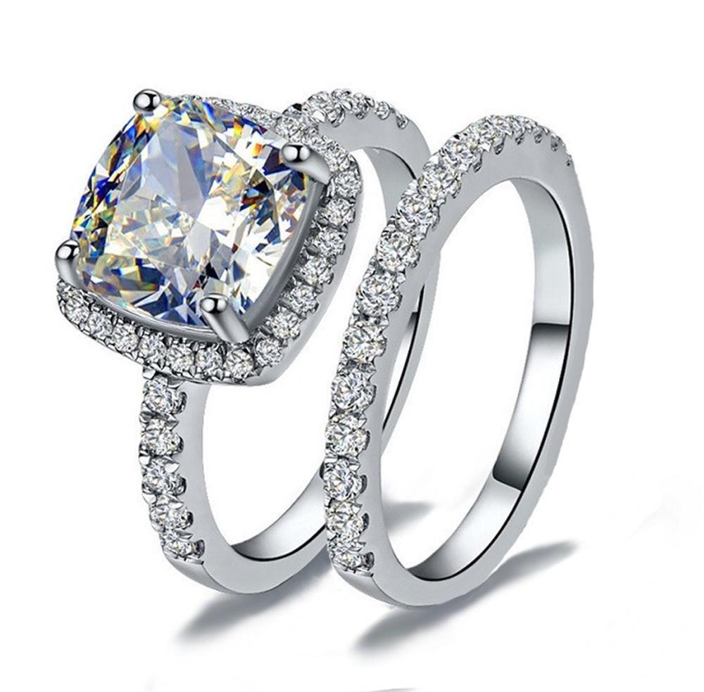 CS7 HIGH QUALITY 2 CARAT RADIANT CUT SONA NSCD SIMULATED DIAMOND RING SET