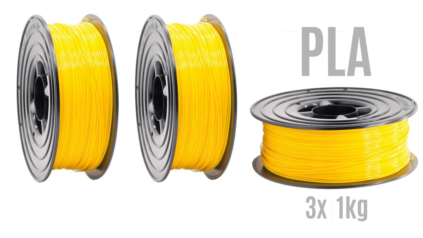 Filamento PLA para impresora 3D, 1,75 mm, 3 x 1 kg, rollo amarillo ...