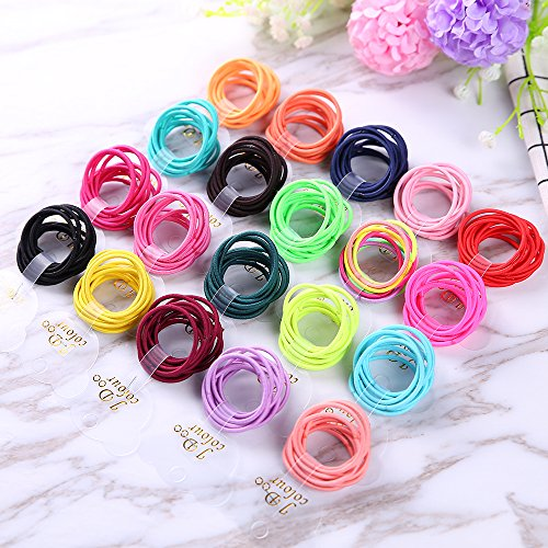 Sufermee 200 Pcs Baby Elastic Hair Ties Multi Colors Mini Hair Holders Baby Girls kids Elastic Rubber (Mini Elastic)