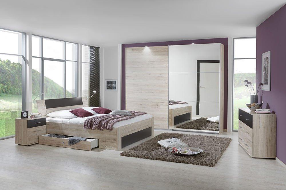 4-tlg-Schlafzimmer in San Remo-Eich-NB mit lavafarbigen Abs., Schwebetürenschrank B: 270 cm, Bett mit Schubkästen B: 180 cm, 2 Nachtschränke B: 52 cm