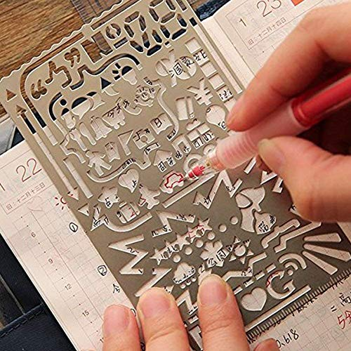 Trycooling 6 In 1 Stainless Steel Portable Drawing Graffiti Web UI/IOS/Number Alphabet/Vintage Brass Alphabet & Number Template Ruler Stencils by Trycooling (Image #5)