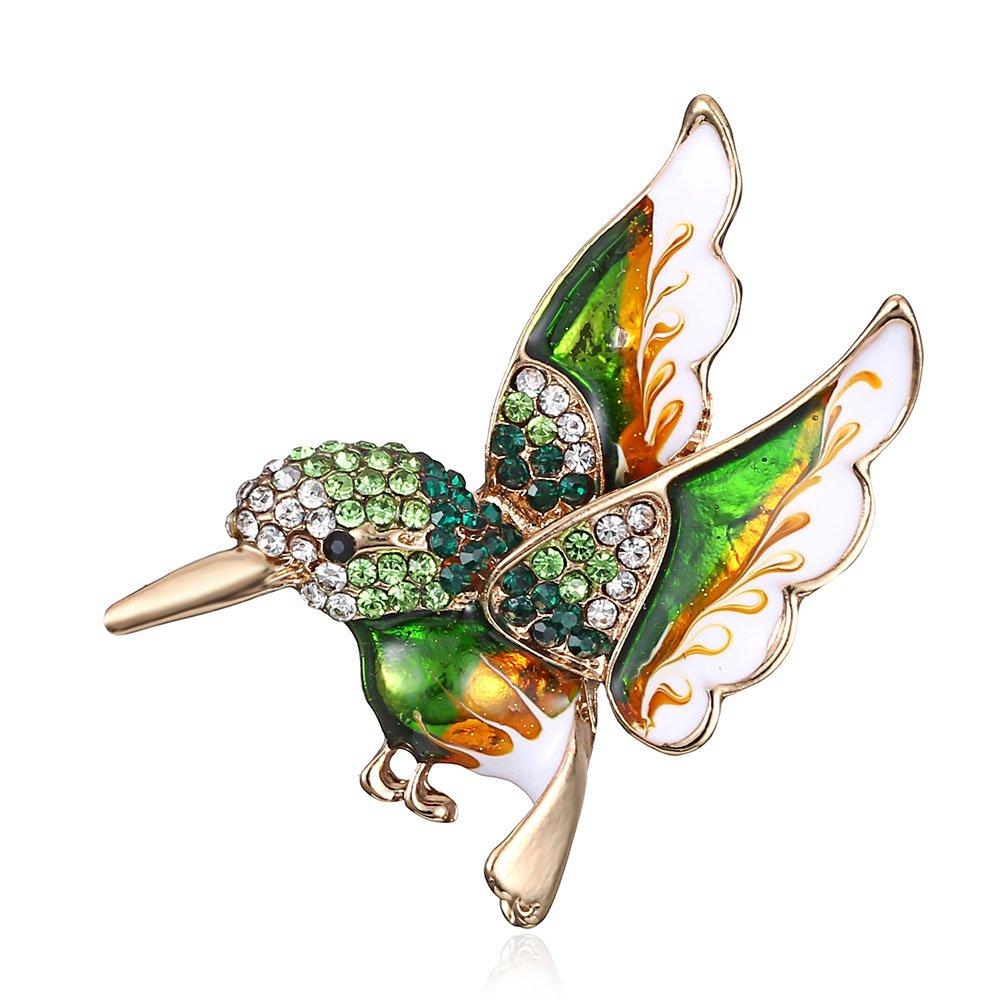 MYANAIL Colorful Crystal Zircon Hummingbird Animal Brooch, Fashion Colored Bird Brooch Pin for Woman (Green)