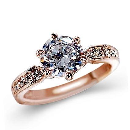 Anillos de boda, sacow cristal de oro rosa seis diente anillo de diamante de la