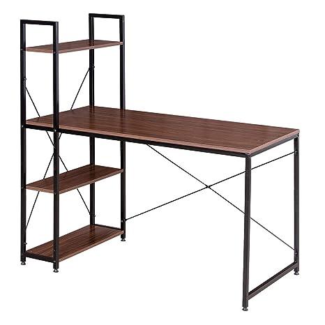 WOLTU Escritorio Escritorio de Computadora Muebles de Oficina Mesa de PC Mesa de Trabajo de Madera y Acero, con 4 Estante, Aprox.120x64x120cm ...