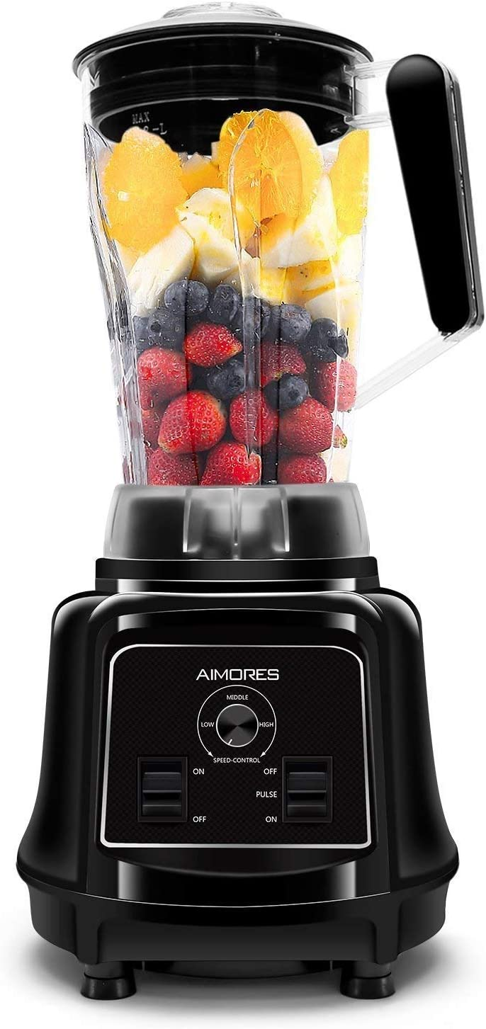 ISUN AIMORES Smoothie Commercial Blender Juicer,Soup Maker, with Pre Programmed Setting, 6 Speeds Control, 75oz Tritan Jug, 6 Stainless Steel Blades