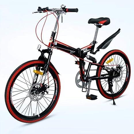 LQ&XL Bicicleta De Montaña Plegable Hombre,Mountain Bike Btt,Bici Unisex Adultos Ligera,Cuadro De Aluminio,7 ...
