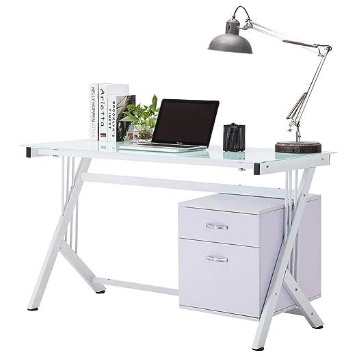 Xerck - Mesa de Trabajo con 2 cajones y Parte Superior de Cristal ...