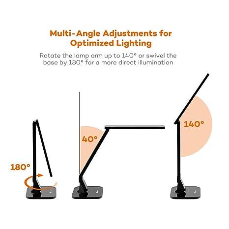 TaoTronics Desk Lamp, LED Desk Lamp with USB Charging Port, 4 Lighting Mode  with 5 Brightness Levels, Timer, Memory Function, Black: Amazon.co.uk:  Lighting - TaoTronics Desk Lamp, LED Desk Lamp With USB Charging Port, 4
