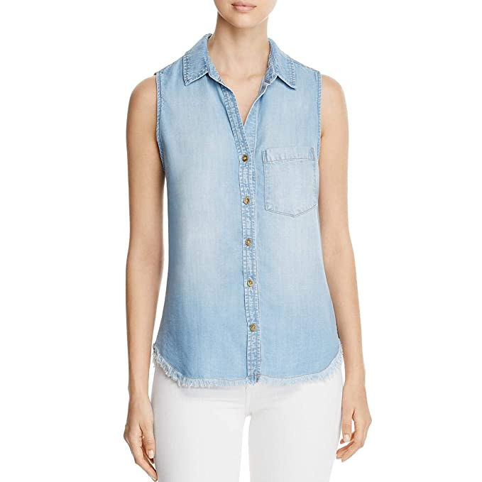 0d033c816 Amazon.com: Side Stitch Womens Denim Sleeveless Button-Down Top Blue ...