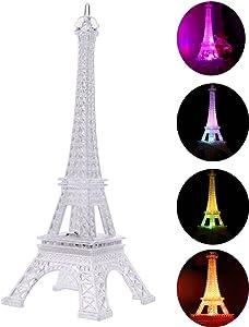 LEDMOMO Eiffel Tower Nightlight Light Up Acrylic 7 Colors Changing 5 Inch Desk Night Light Kids for Holiday Bedroom Centerpiece Decor