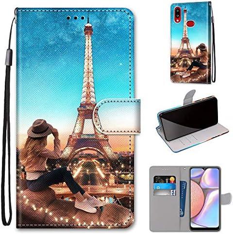 Miagon Flip PU Leder Schutzhülle für Samsung Galaxy A10S,Bunt Muster Hülle Brieftasche Case Cover Ständer mit Kartenfächer Trageschlaufe,Turm Mädchen